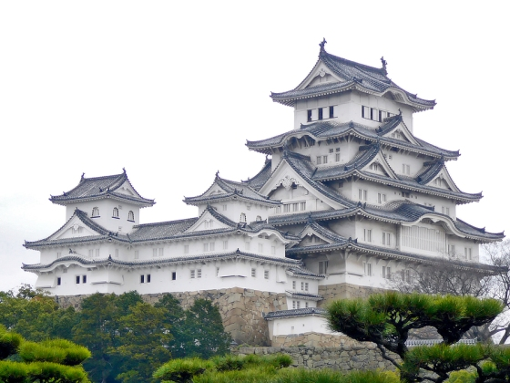 The beautiful Himeji Castle. This huge castle, which is also called